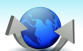 Glossy earth globe with grey 3D arrows for Business concept.